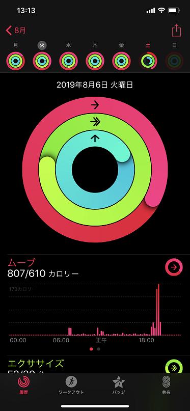 アクティビティアプリの画面