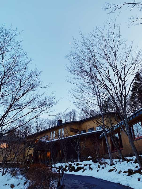 木立と月とアンシェントホテル