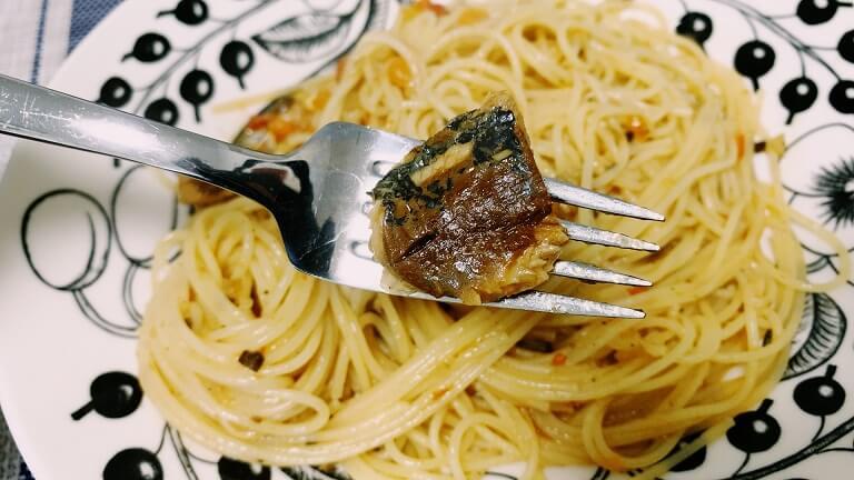 絶望スパゲッティのマイワシのアップ